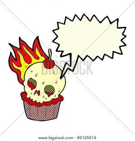 cartoon halloween cup cake with speech bubble