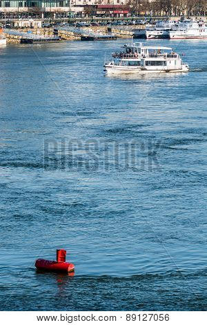 red buoy water surface, symbol of navigation, security, navigation