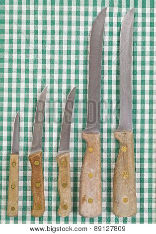 Old Knife Set On Cloth Napkin