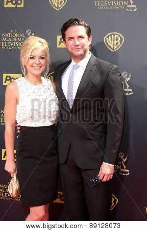 LOS ANGELES - APR 26:  Kristen Storms, Brandon Barash at the 2015 Daytime Emmy Awards at the Warner Brothers Studio Lot on April 26, 2015 in Burbank, CA