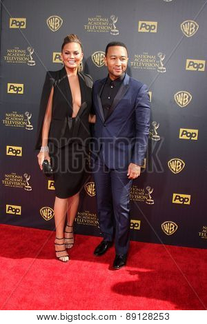 LOS ANGELES - APR 26:  Chrissy Teigen, John Legend at the 2015 Daytime Emmy Awards at the Warner Brothers Studio Lot on April 26, 2015 in Burbank, CA
