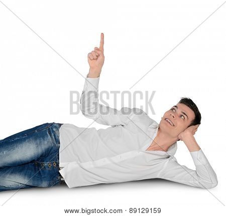 Isolated young man pointing up