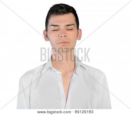 Isolated young man closed eyes