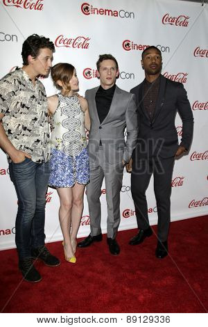 LAS VEGAS - APR 23:  Miles Teller, Kate Mara, Jamie Bell, Michael B. Jordan at the CinemaCon Big Screen Achievement Awards at the Caesars Palace on April 23, 2015 in Las Vegas, NV