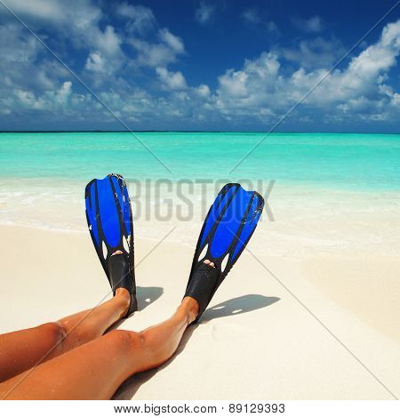 Snorkeler relaxing on the beach