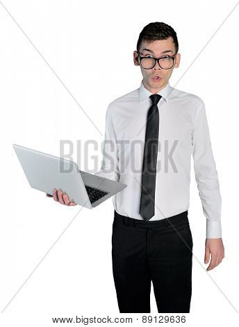 Isolated business man shocked with laptop