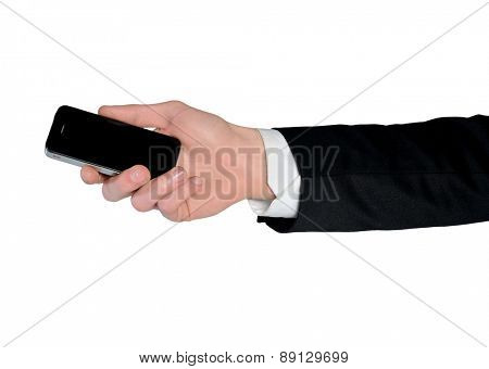 Isolated male hand holding phone