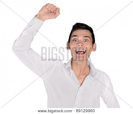 Isolated young man winner hand up