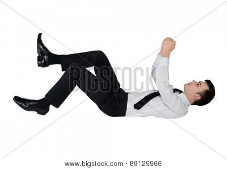 Isolated business man on imaginary rope
