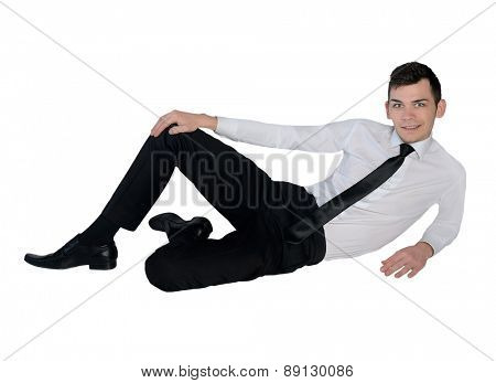 Isolated business man looking camera