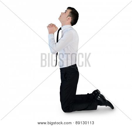 Isolated business man pray looking up