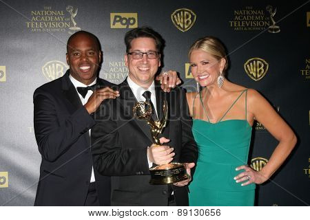 LOS ANGELES - APR 26:  Kevin, Frazier, Brad Bessey, Nancy O'Dell at the 2015 Daytime Emmy Awards at the Warner Brothers Studio Lot on April 26, 2015 in Los Angeles, CA
