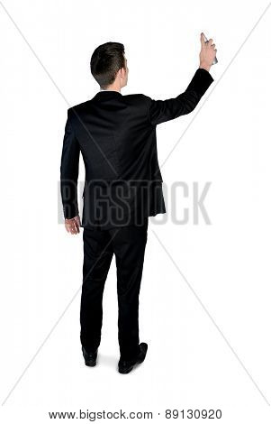 Isolated business man with paint spray