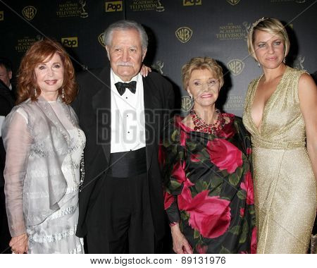 LOS ANGELES - APR 26:  Suzanne Rogers, John Aniston, Peggy McKay, Arianne Zucker at the 2015 Daytime Emmy Awards at the Warner Brothers Studio Lot on April 26, 2015 in Los Angeles, CA