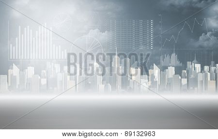 Chart pillars and view of a city background