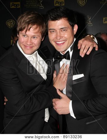 LOS ANGELES - APR 26:  Guy Wilson, Christopher Sean at the 2015 Daytime Emmy Awards at the Warner Brothers Studio Lot on April 26, 2015 in Los Angeles, CA