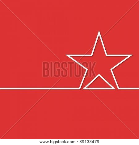 Illustration white star on a red background. Vector.