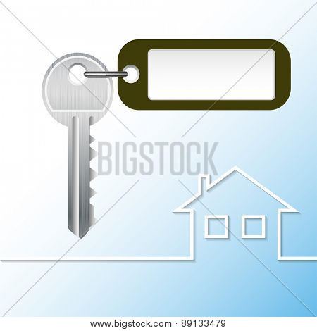 Illustration Key to the castle with tag and house. Vector.