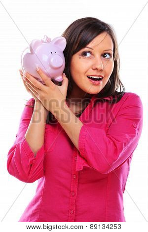 Woman Holding Pig Money-box