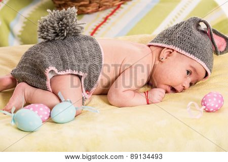 Newborn Baby In Bunny Costume