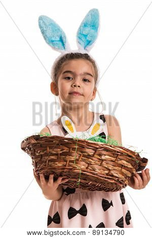 Girl With Bunny Ears Holding Basket