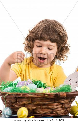 Amazed Toddler Choose Easter Egg
