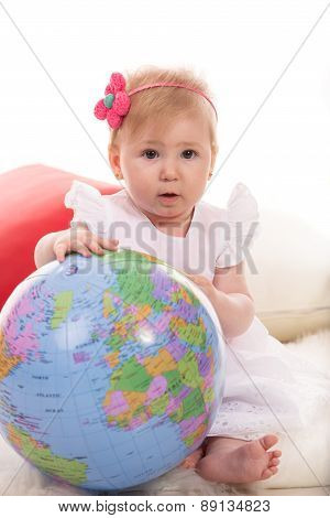 Baby Girl With Globe