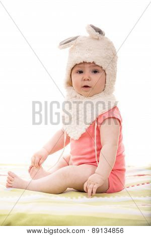 Baby Girl In Fluffy Bunny Hat