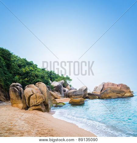 Palm trees, bay, stones and sea. Thailand.