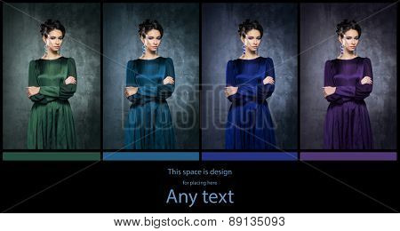 Young, beautiful and graceful woman in a retro styled fashion dress. Different  versions. Cold color  concept.