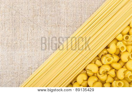 Background Of Coarse Burlap With Pasta