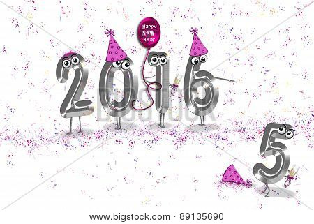 New Year 2016 with party elements