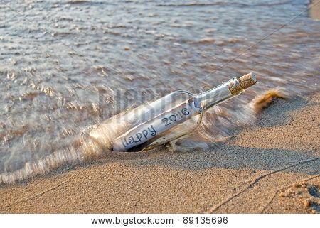 2016 New Year message in bottle