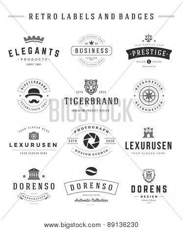 Retro Logotypes set vector vintage graphics design elements for logos, identity, labels and badges.