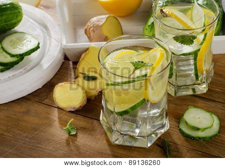 Fresh Water With Lemon, Mint  And Cucumber  On A Wooden Background.