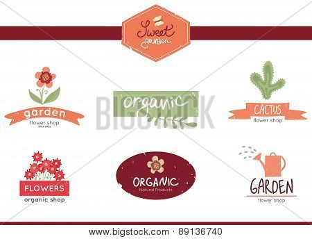 sweet garden, set of floral, garden and organic logo, labels and bages