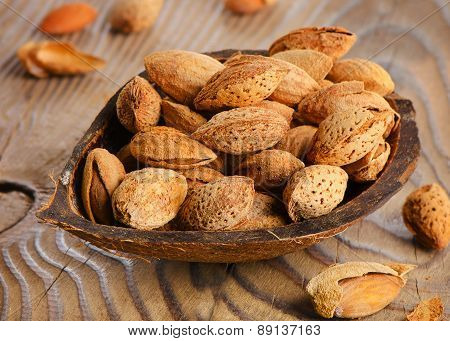 Almonds  On Wooden Table