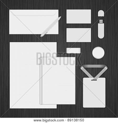 White Logotype presentation corporate identity template Mock up design elements. Vector Business stationery objects, envelope, business card, envelope, badge, pen and other.