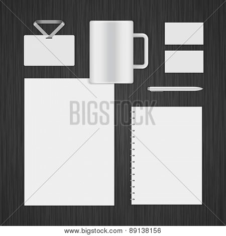 White Logotype presentation corporate identity template Mock up design elements. Vector Business stationery objects, envelope, business card, cup, notepad, pen and other.