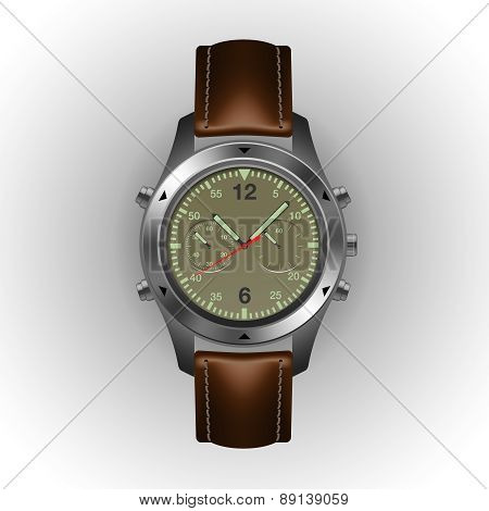 Military watch isolated on a white background