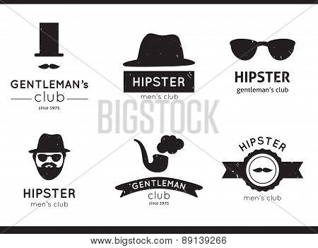 Vector hipster labels, logo and badges. Men's club.