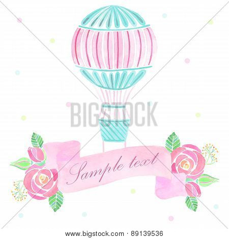 Watercolor ribbon with hot air balloon