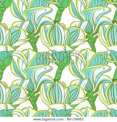 Seamless floral pattern with magnolia blossom.