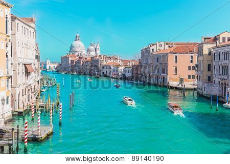 Grand Canal In Venice, Italy With Vintage Filtered