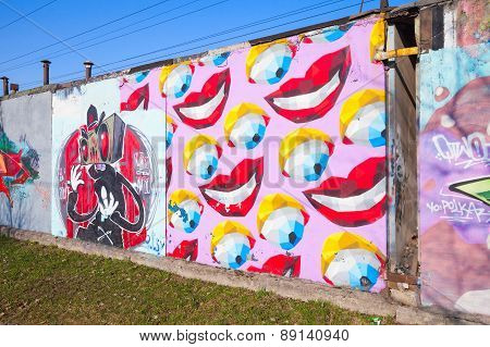 Colorful Graffiti With Bright Abstract Cartoon Smiles