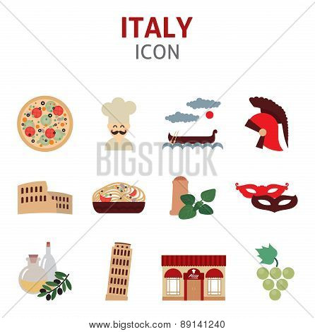 Set of Italy vector symbols and icon