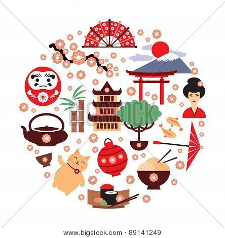 Japan vector symbols. Japan traditional food and travel icons