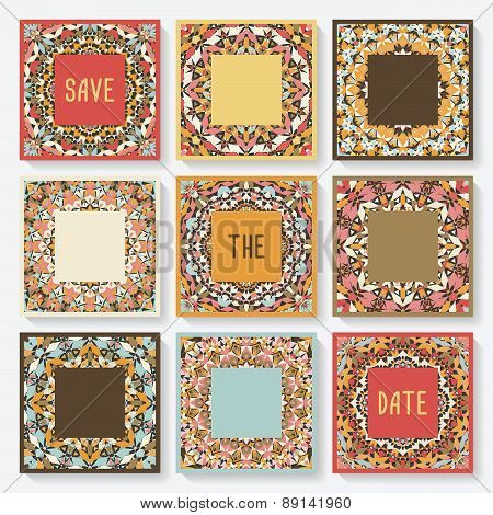 set of cards with kaleidoscope pattern