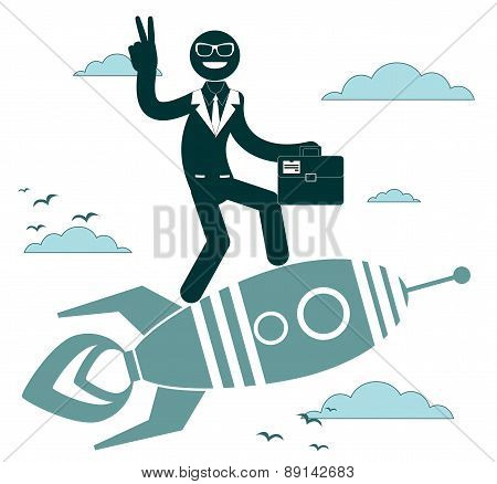 Businessman on a rocket pointing and showing directions. Vector illustration
