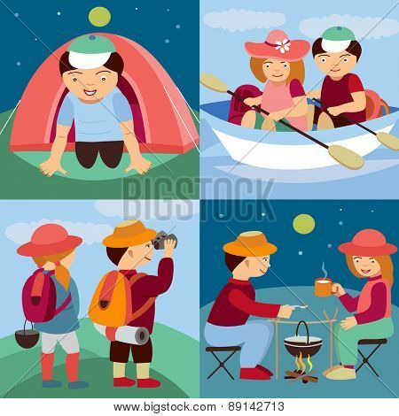 tourists travel (vector illustration set)